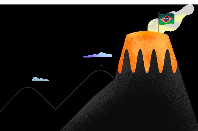 Relatório Anual Guide 2021: Um piquenique à beira do vulcão. Acesse aqui sobre os acontecimento de 2020, o que esperamos para 2021 e a Carteira Recomendada Anual - ilustração de um vulcão em erupção.