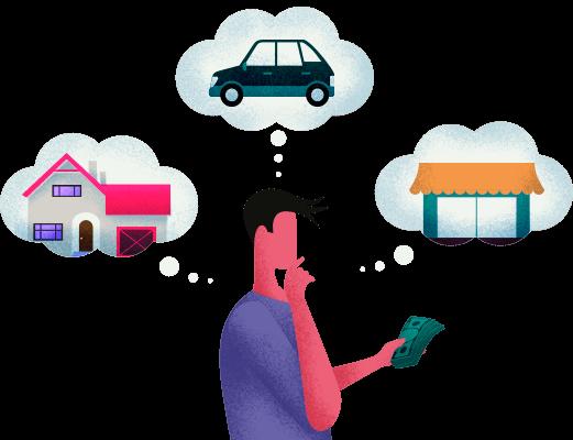 Homem com sonho de comprar uma casa, um carro e abrir um comércio através do empréstimo